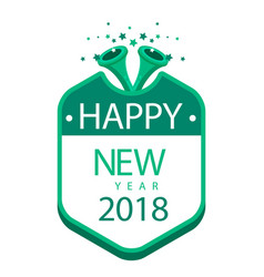 New year green badge image vector