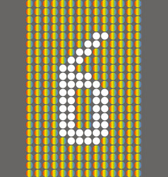number six with white circles on rainbow circles vector image