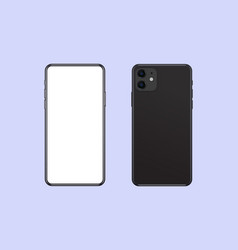 phone mockup front and back side realistic black vector image