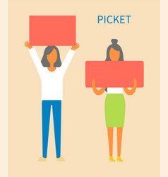 picket women holding tables vector image
