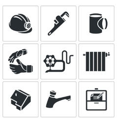 Plumber profession icons set vector