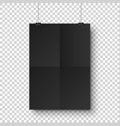 realistic black hanging blank paper sheet vector image