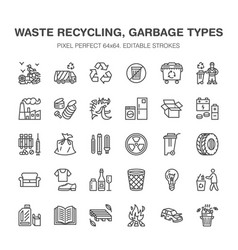 Recycling flat line icons pollution recycle vector