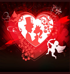Red background with a silhouette of a heart vector