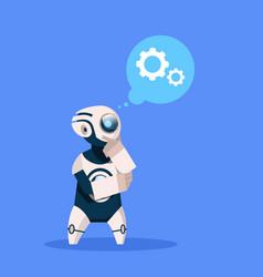 Robot thinking cyborg isolated on blue background vector
