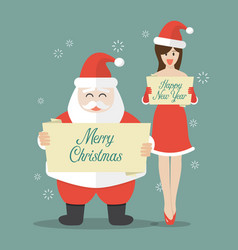 santa claus and santa girl in flat style vector image