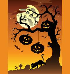 scene with halloween tree 2 vector image