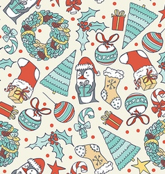 Seamless christmas pattern with hand drawn penguin vector