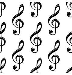 Seamless musical treble clef pattern vector image