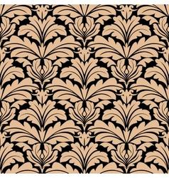 Seamless pattern of beige floral arabesque motifs vector image
