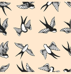 Seamless pattern with swallows in old school vector