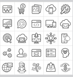 seo trendy style icons on white background eps10 vector image