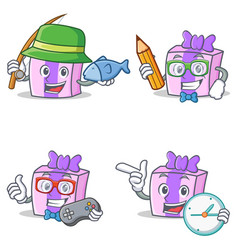 Set of gift character with fishing pencil gamer vector