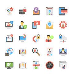 set of internet security icons in flat design vector image