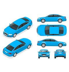 set sedan cars isolated car template vector image