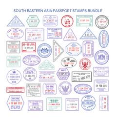 South eastern asia color travel visa stamps bundle vector