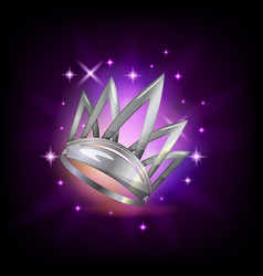 Sparkly silver crown icon for video game or mobile vector