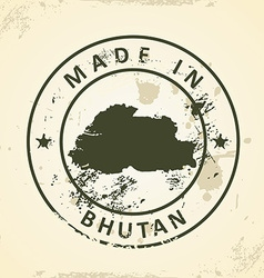 Stamp with map of Bhutan vector