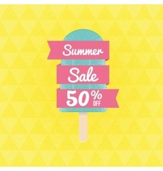 Summer Sale 50 per cent off with ice-cream and vector