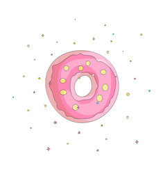 sweet pink donut cartoon icon with colorful vector image