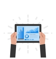 tablet in hands a businessman vector image