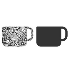 tea cup collage of service tools vector image