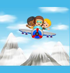Three boy riding a plane over mountain vector