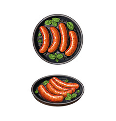 Top and side view pictures of grilled sausages vector