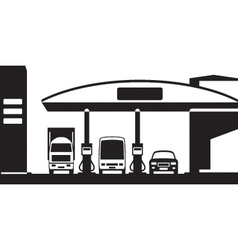 Truck bus and car at gas station vector