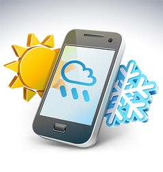 Weather on smartphone - vector image vector image