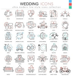 wedding color line outline icons for apps vector image