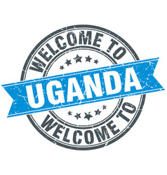 Welcome to uganda blue round vintage stamp vector