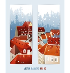 Winter banners with city landscape vector image