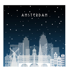 winter night in amsterdam night city vector image