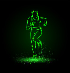 woman runs front view green neon vector image