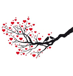 birds in love kissing on a heart tree vector image vector image