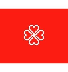 Four hearts social symbol Heart cross vector image vector image