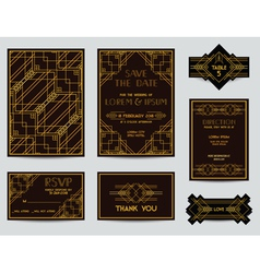 Set of Wedding Cards - Art Deco Vintage Style vector image vector image