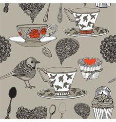 Tea and bird vector image vector image