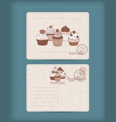 vintage postcard with hand drawn cupcake vector image