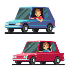 young happy man and woman driver driving cars flat vector image