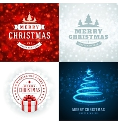 Christmas typography labels design and vector image vector image