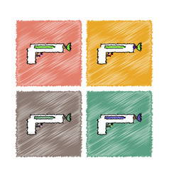 collection of flat shading style icons kids gun vector image