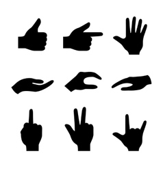 Hand icons set of 16 gesture symbols vector image