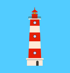 lighthouse flat icon on blue background flat vector image