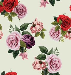 Seamless floral pattern with red purple and pink vector image