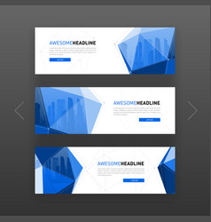 3d low poly solid abstract corporate banner vector image