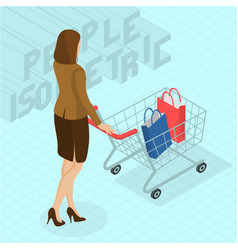 woman walking with shopping cart vector image vector image