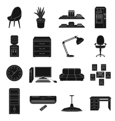 Office furniture and interior set icons in black vector