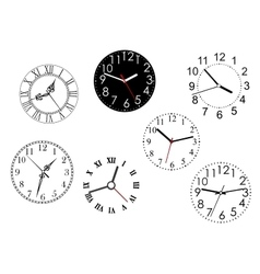 Set of isolated clock dials vector image